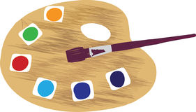 Artist pallet with paintbrush Royalty Free Stock Photos