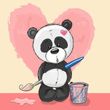 Artist Panda. Cute Panda with brush is drawing a heart Royalty Free Stock Images
