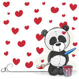 Artist Panda. Cute Panda with brush is drawing hearts Stock Images