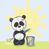 Artist Panda. Cute Panda with brush is drawing a sun Stock Photography