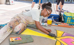 Artist Participating in Pasadena Chalk Festival Royalty Free Stock Images