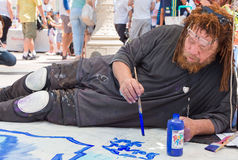 Artist Participating in Pasadena Chalk Festival Stock Image