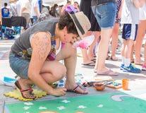 Artist Participating in Pasadena Chalk Festival Stock Photo