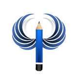 Artist pencil and blue wings. isolated Royalty Free Stock Photo