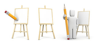 Artist with pencil and easel Royalty Free Stock Photo