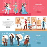 Artist People Banners Set. Artist people horizontal banners set with art and music symbols flat  vector illustration Stock Photos