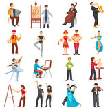Artist People Icons Set. With musicians painters and dancers flat  vector illustration Royalty Free Stock Photo