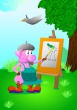 Artist-pig.Pig in a beret and artist`s apron draws a landscape on the easel with paint. stock illustration