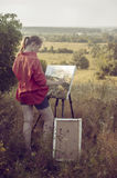 Artist on the plain air Royalty Free Stock Images