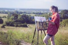 Artist on the plain air Stock Photography