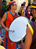 Artist playing drums in a cuban street carnival Stock Photos