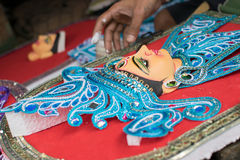 Artist preparing Goddess Durga clay idol, Kolkata, Calcutta, India Royalty Free Stock Photos