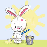 Artist Rabbit. Cute Rabbit with brush is drawing a sun royalty free illustration