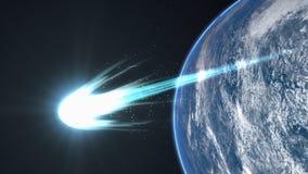 Artist rendering, Bright comet flyby Earth.