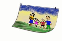 An artist rendition of a child's drawing. Of a happy family, isolated on white Stock Photo