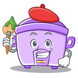Artist rice cooker character cartoon Royalty Free Stock Image
