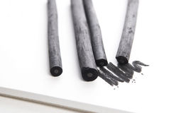 Artist's black charcoal with smudge Royalty Free Stock Photo