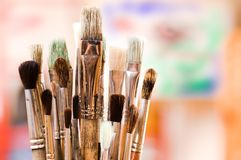 Artist's brushes. In a studio Stock Photography