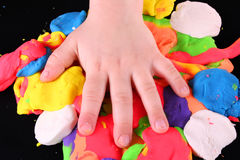 Artist's hand. On color background royalty free stock image