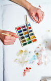 Artist's hand draw watercolor Royalty Free Stock Image