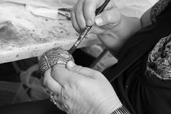 Artist's hands B/W Stock Image