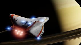 Futuristic spaceship in orbit of the planet Saturn, shuttle mission to the ring planet 3d science fiction illustration. Artist`s impression of a futuristic space Stock Photography