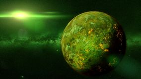 Mysterious alien planet with lava streams lit by a green sun 3d illustration. Artist`s impression of a hot exoplanet orbiting a green dwarf star Royalty Free Stock Photo