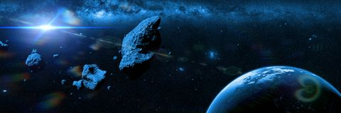 A swarm of asteroids moving towards planet Earth in front of the Milky Way galaxy 3d illustration banner royalty free illustration