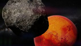 On of the moons of Mars in front of the red planet Royalty Free Stock Photos