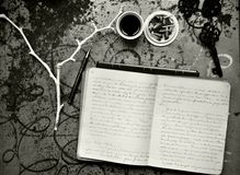 Artists morning breakfast with notebook , coffee and cigarettes Stock Images