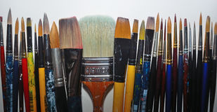 Artist`s paint brushes Stock Photos