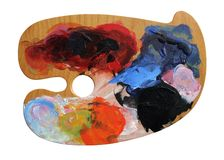 Artist's paint palette board Royalty Free Stock Photography