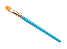 Artist's Paintbrush on White. Blue Artist's Paintbrush on White stock photography