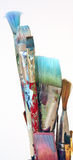 Artist's Paintbrushes. A grouping of artist's paintbrushes on a white background Stock Image
