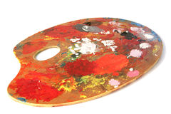 Artist's palette. An artist's paint palette (without the tube of paint royalty free stock photos