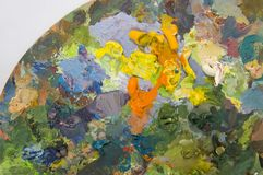 Artist's palette. With multiple colors Royalty Free Stock Photo
