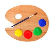 Artist's palette and brush stock images