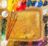 Artist's palette, brushes Stock Photography