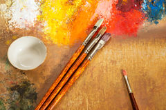 Artist's palette, brushes Royalty Free Stock Photography