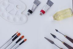 Oil painting tools isolated stock image
