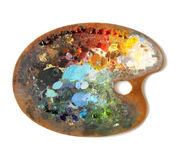Artist's palette with multiple colors Royalty Free Stock Photos