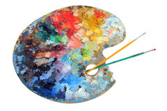 Artist's Palette With Paintbrushes Stock Photography