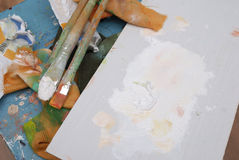 Artist's stained palette Royalty Free Stock Image