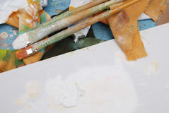 Artist's stained palette Stock Photography