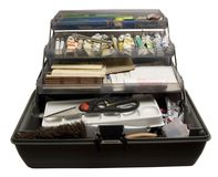 Artist's Toolbox. Work toolbox of an artist/designer, full of paints, pensiles, erasers, etc stock image