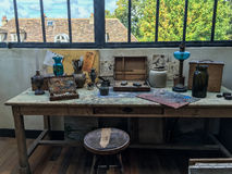 Artist`s work space in Suzanne Valadon studio, Montmartre Royalty Free Stock Image