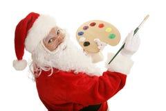 Artist Santa Paints Royalty Free Stock Photography