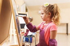Artist school girl painting watercolor brush Stock Photography