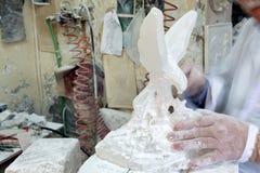 Artist Sculpting Alabaster Stock Photography
