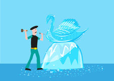 An artist sculpts a swan form out of ice or crystal material. Editable Clip Art. A swan made of ice is being cut by a talented artistn Royalty Free Stock Photos